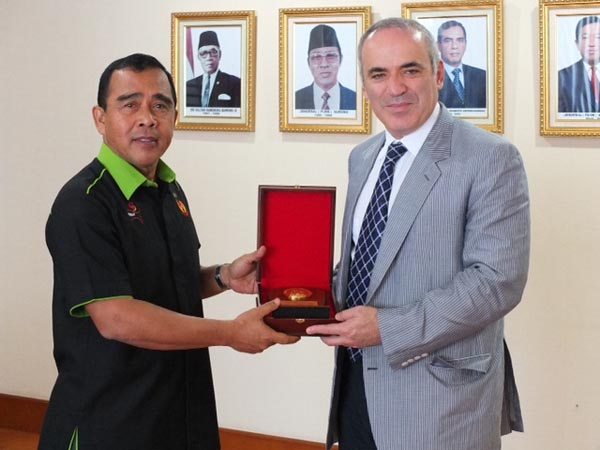 A souvenir from Chairman of the Indonesian National Olympic Committee, Mr. Tono Suratman (Ret. Major General).
