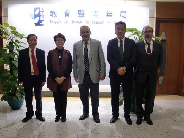 Leong, Mdm Leong Lai, Kasparov, Mr Jose Tavares and Mr Jose Silveirinha.