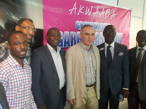 President of GCA, GM Kasparov and CEO of UT Bank at the Inaugural Ceremony of the UT Bank Chess Club