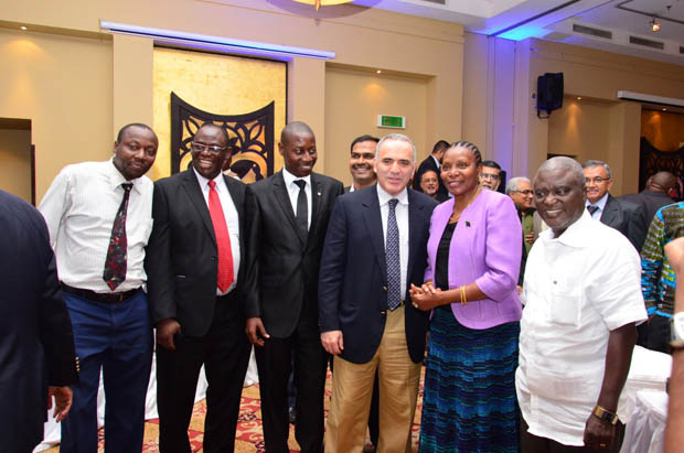 GM Kasparov with National Sports Council Chairman and Hon. Minister Dr. Fenella Mukangara and Board members of Tanzania Chess Association