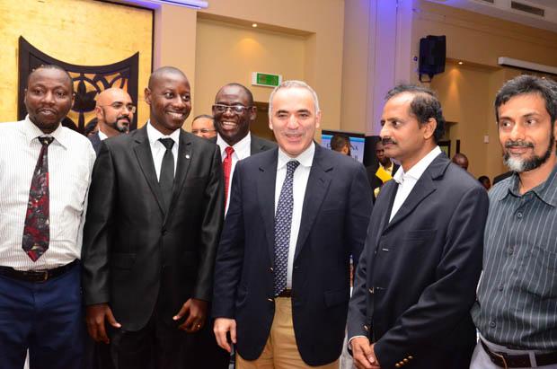 GM Kasparov with Board Members of Tanzania Chess Association