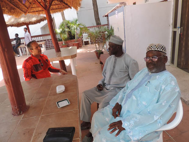 Alhagi Momodou M Dibba, the President Gambia National Olympic Committee (center) with Larbi Houari and Antouman Njie