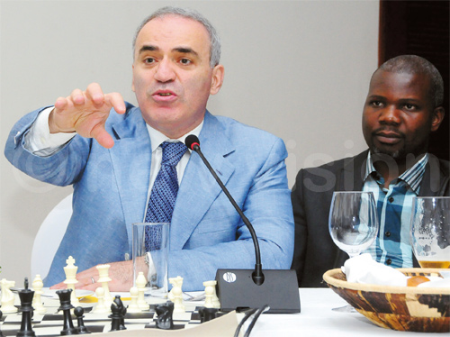Kasparov talks to corporates and UCF officials during a dinner at Serena Hotel on Thursday. Photo by Mpalanyi Ssentongo