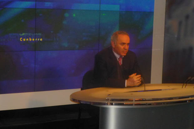 Gary in Canberra studios of popular ABC Lateline program watched by hundreds of thousand viewers.