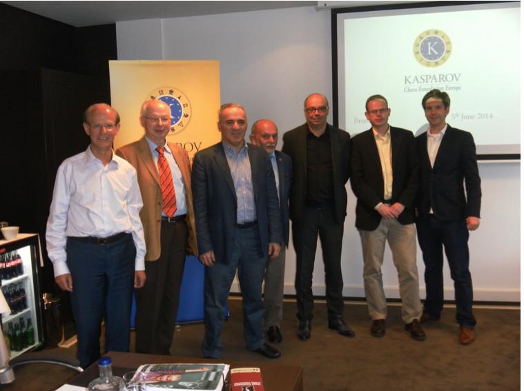 Left to right: Jan Callewaert (President KCF Europe), Horst Metzing(Delegate Germany), Garry Kasparov, Günter Delhaes (President Belgium), Jean-Michel Rapaire (President Monaco), Olivier Jeitz (Delegate Luxembourg), Jan Suer(Manager KCF Europe).
