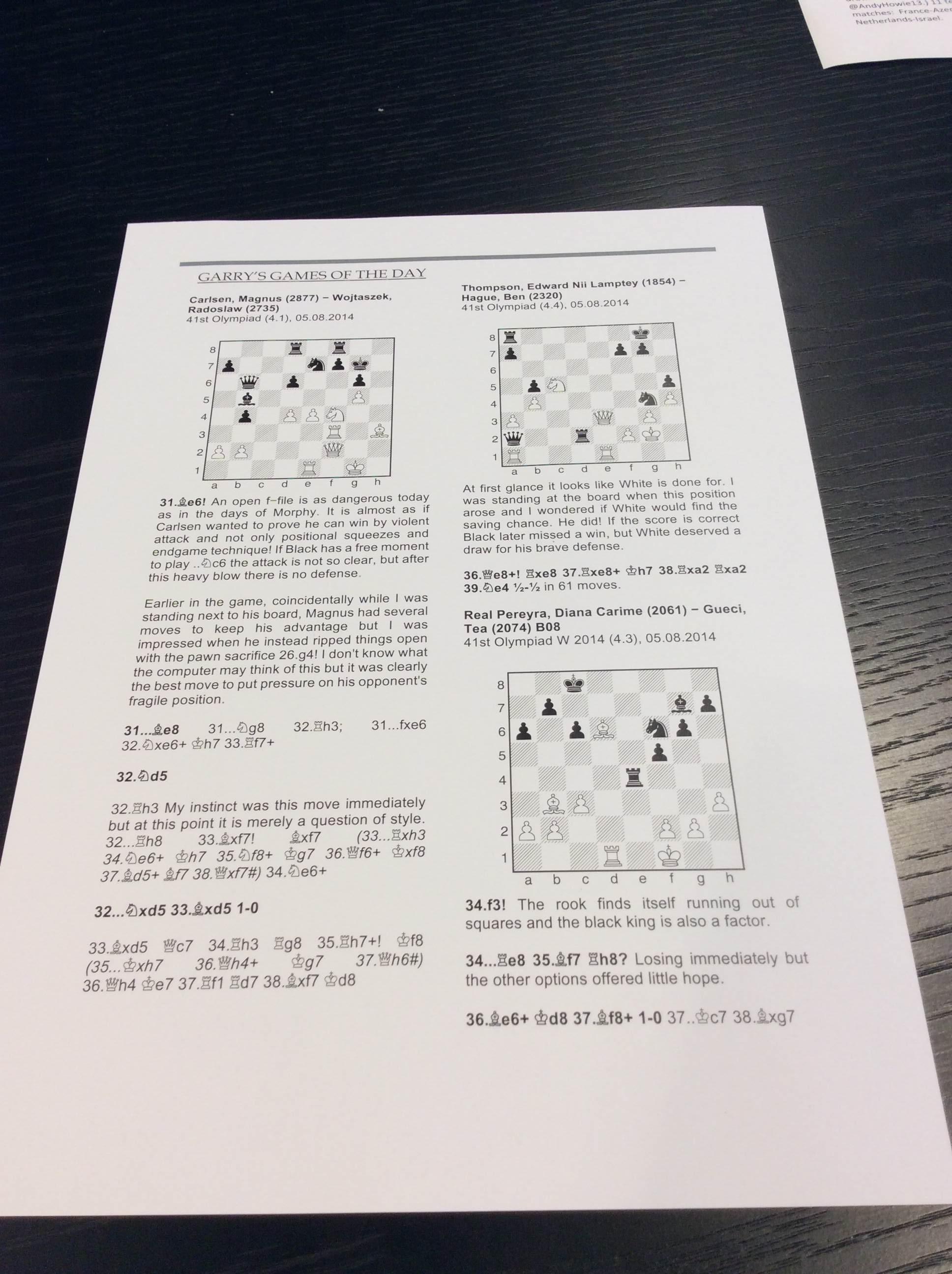 Garry's Game of the Day.  Carlsen, Magnus (2877) - Wojtaszek, Radoslaw (2735) August 5th, 2014